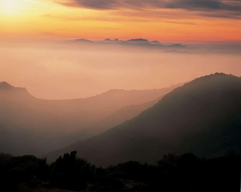 Tramonto sul Montseny, riserva della biosfera