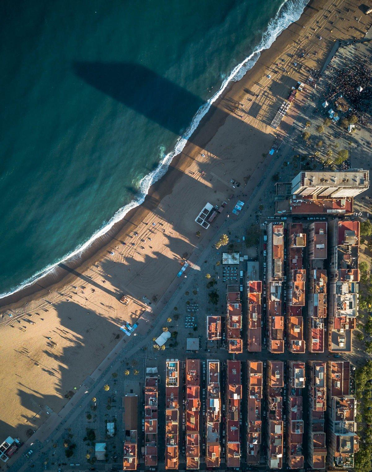 Barceloneta vecchia dall'alto