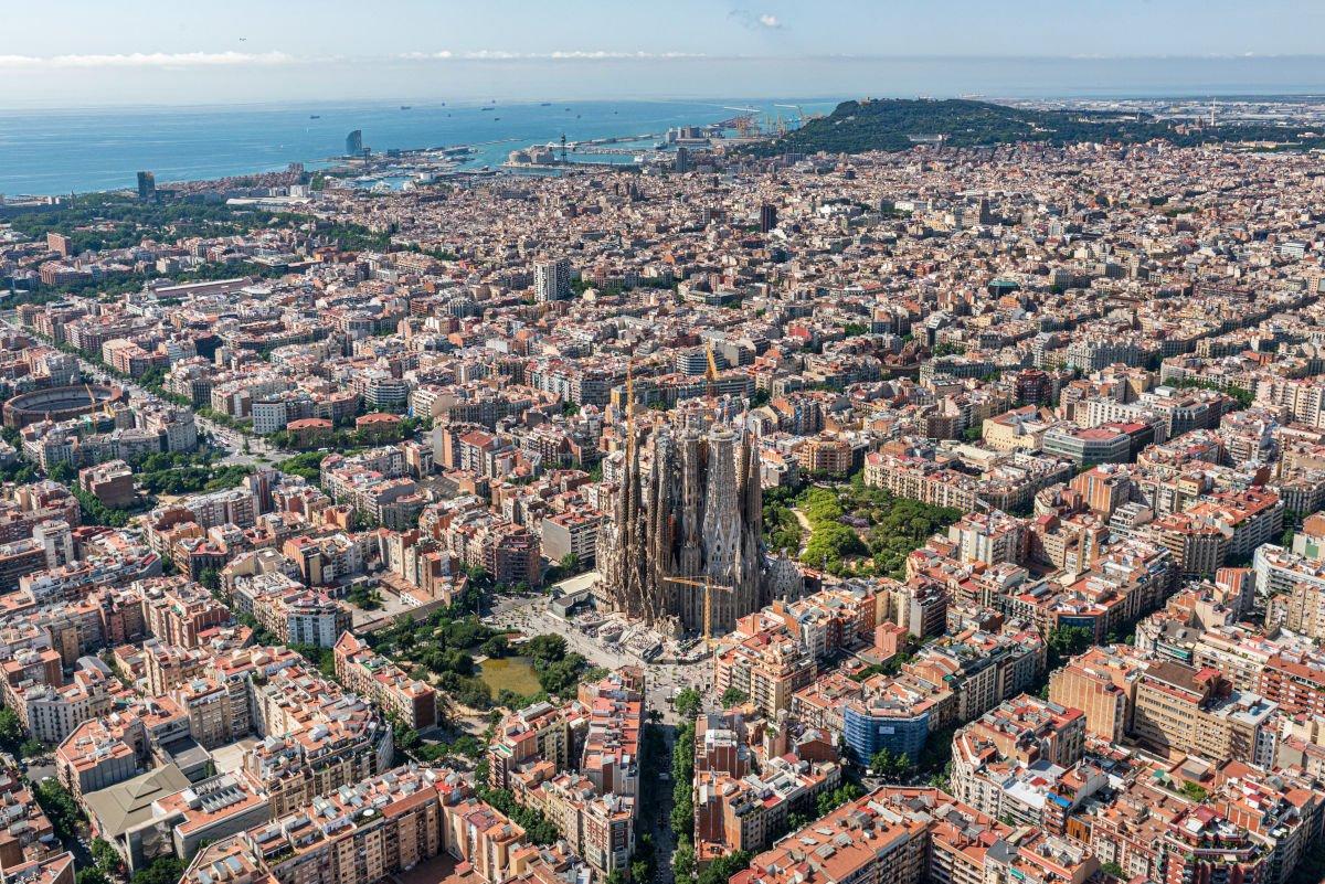 La Sagrada Família dall'alto