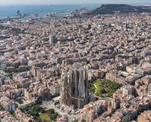Veduta aerea di Barcellona e dell'Eixample