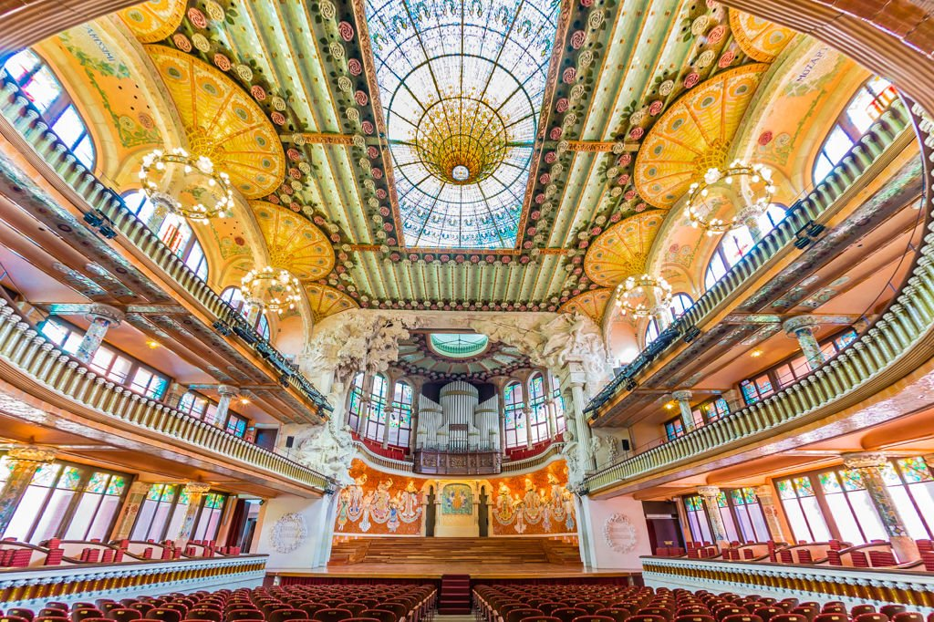 Una veduta della Sala Concerti nel Palau de la Música Catalana