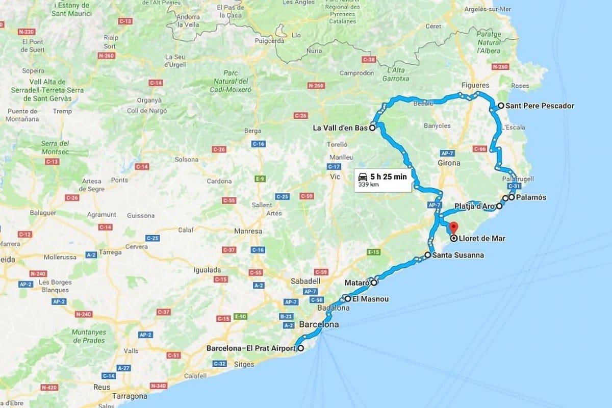 Catalunya insolita con bambini, itinerario